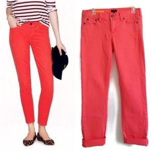 NWT J.Crew Neon Coral Dyed Matchstick Jeans